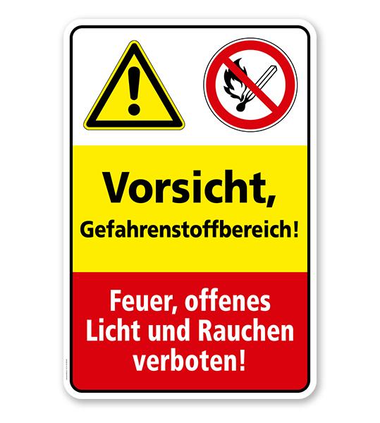 Sicherheitsschild Vorsicht - Gefahrenstoffbereich! Feuer, offenes Licht und Rauchen verboten!