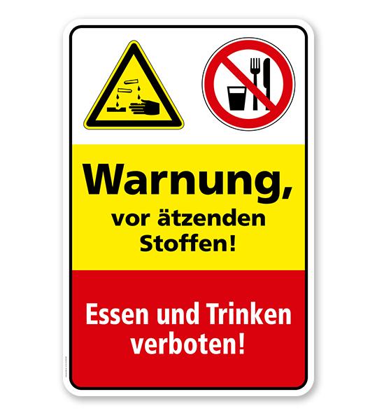 Sicherheitsschild Warnung vor ätzenden Stoffen! Essen und Trinken verboten!