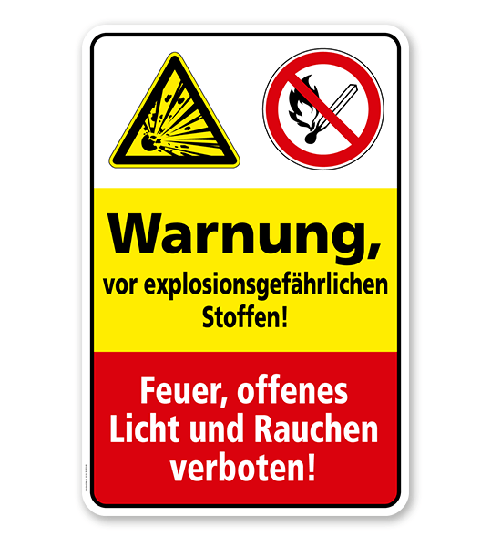 Sicherheitsschild Warnung vor explosionsgefährlichen Stoffen! Feuer, offenes Licht und Rauchen verboten!