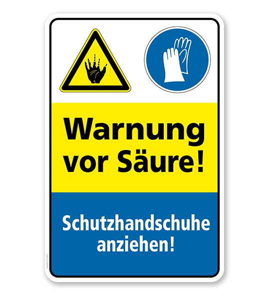 Sicherheitsschild Warnung vor Säure! Schutzhandschuhe anziehen!