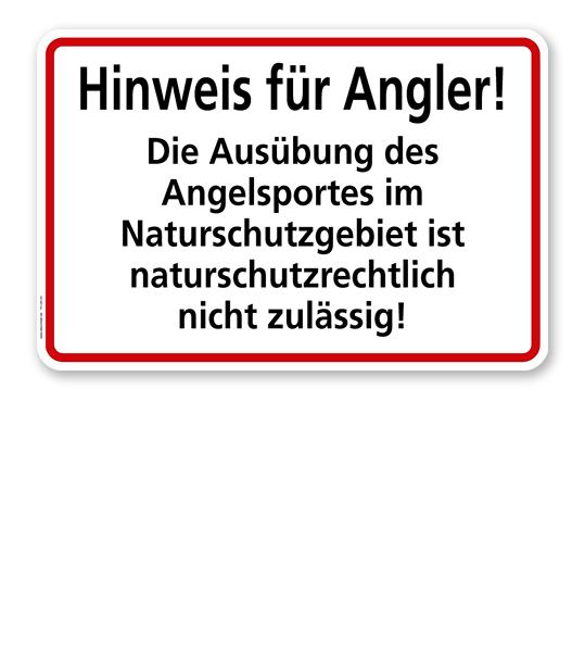 Textschild Hinweis für Angler - Naturschutzgebiet - TX