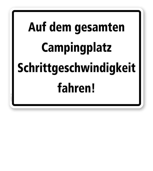 Textschild Auf dem gesamten Campingplatz Schrittgeschwindigkeit fahren! - TX