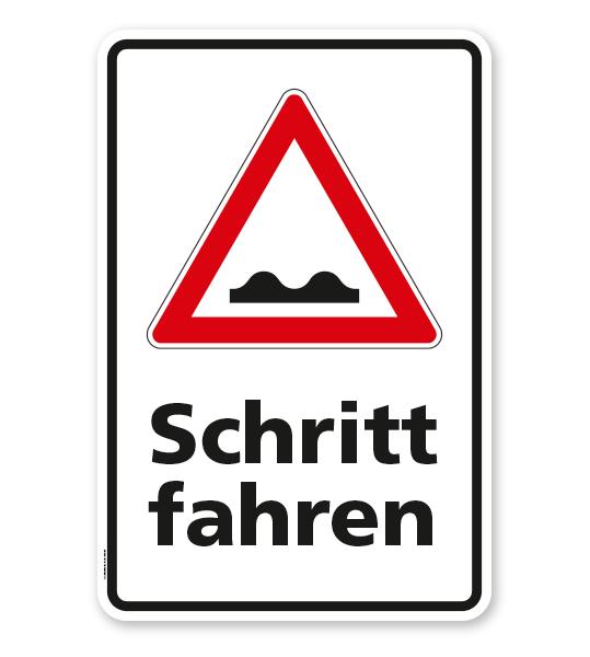 Kombischild Schritt fahren - unebene Fahrbahn