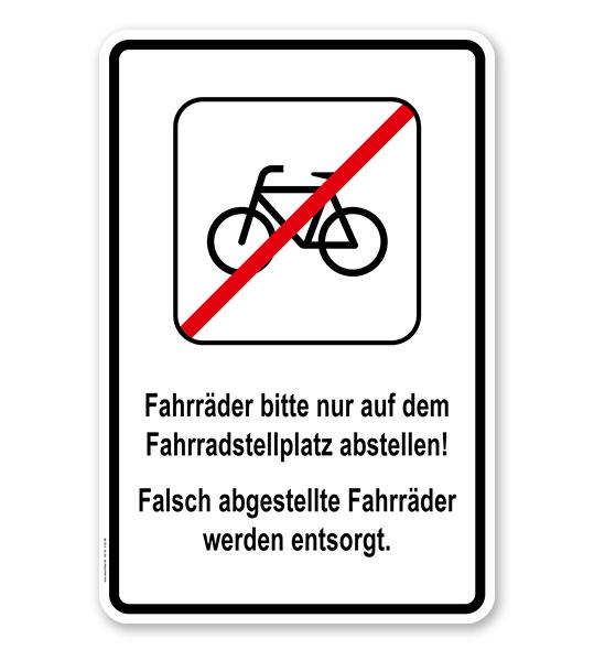 Kombischild Fahrräder bitte nur auf dem Fahrradstellplatz abstellen