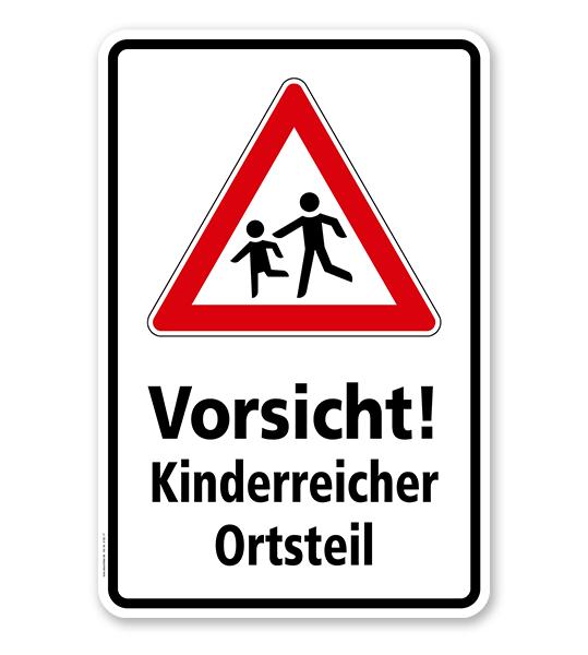Kombischild / Kinderschild Vorsicht, kinderreicher Ortsteil