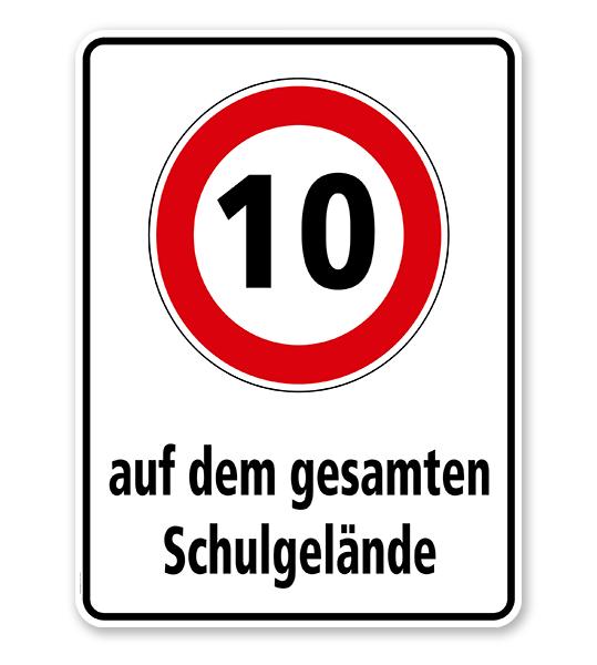 Kombischild Auf dem gesamten Schulgelände gilt die Geschwindigkeitsbegrenzung von 10 km/h