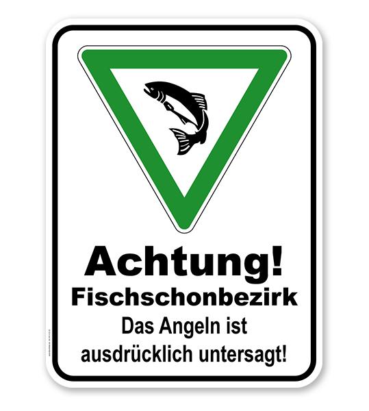 Kombischild Achtung Fischschonbezirk. Angeln untersagt