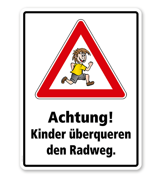 Kombischild / Kinderschild Achtung, Kinder überqueren den Radweg