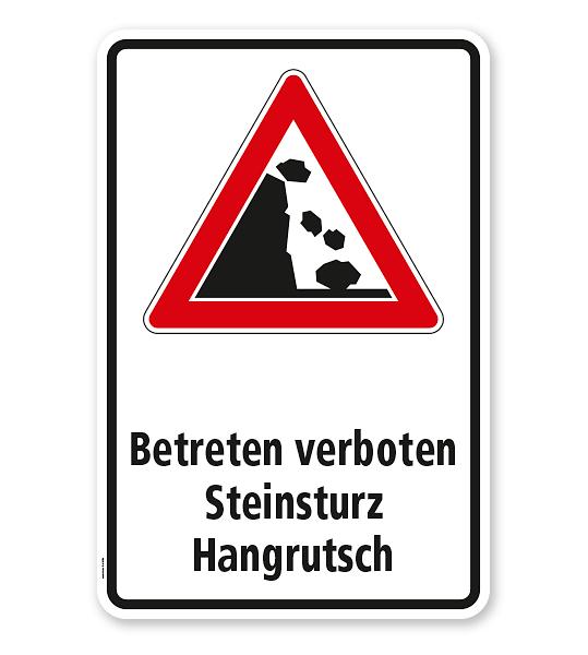 Kombischild V-VZ-59 Betreten verboten Steinrutsch - Hangrutsch