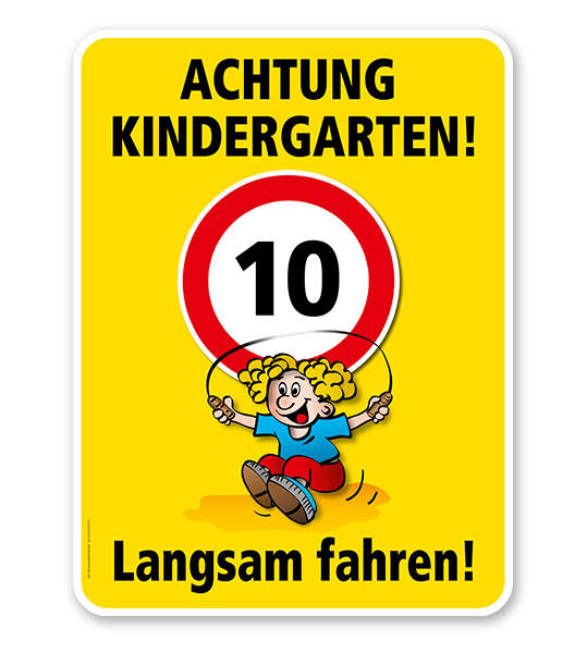 Kinderschild Achtung Kindergarten 30er Zone - Langsam fahren - VSS