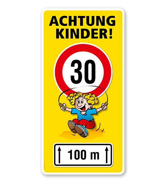 Kinderschild Achtung Kinder 30er Zone - Teilstrecke - VSS