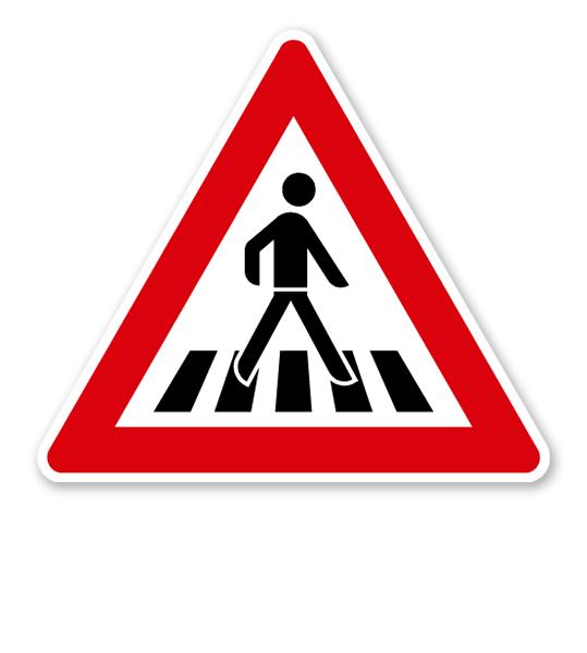 Fußgängerüberweg, Aufstellung links - Verkehrsschild VZ 145-22