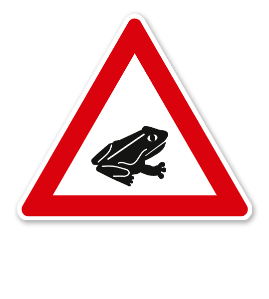 Amphibienwanderung, Aufstellung links - Verkehrsschild VZ 145-25