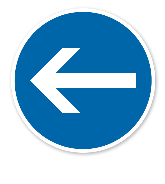 Vorgeschriebene Fahrtrichtung hier links - Verkehrsschild VZ 211-10
