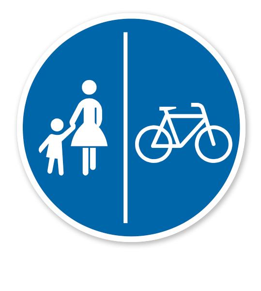 Getrennter Rad- und Gehweg, Radweg rechts - Verkehrsschild VZ 241-31