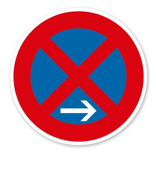 Absolutes Halteverbot Ende, Rechtsaufstellung - Verkehrsschild VZ 283-20