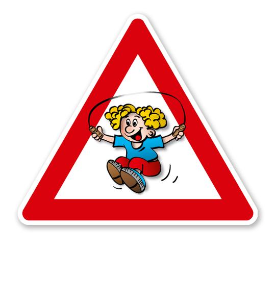 Verkehrsschild Achtung, spielende Kinder - Kind mit Springseil