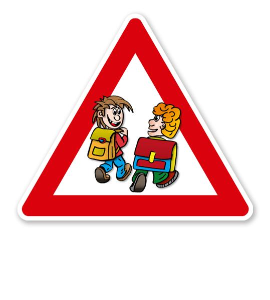 Verkehrsschild Achtung, Schulweg - Schüler