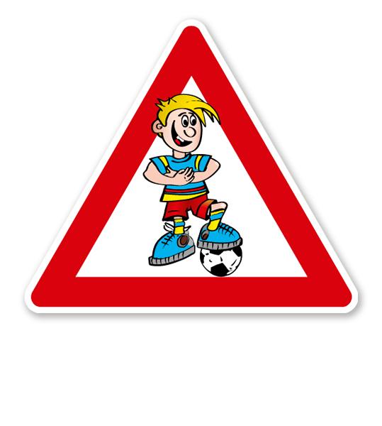 Verkehrsschild Achtung, spielende Kinder - Fußballer