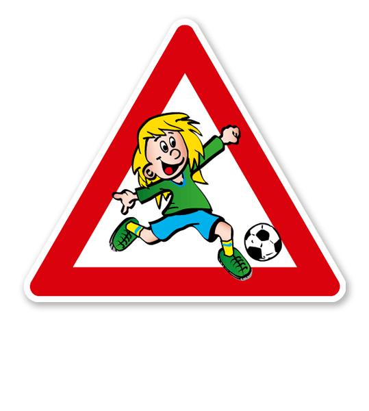 Verkehrsschild Achtung, spielende Kinder - Fußballspielerin