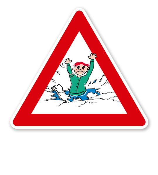 Verkehrsschild Warnung vor Eiseinbruch - Kind