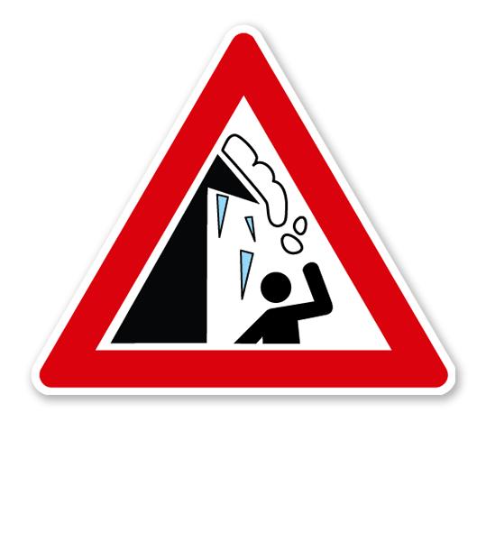 Verkehrsschild Warnung vor Dachlawinen und Eiszapfen