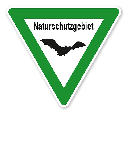 Verkehrsschild Naturschutzgebiet – Fledermaus