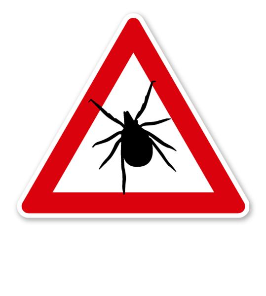 Verkehrsschild Vorsicht Zecken