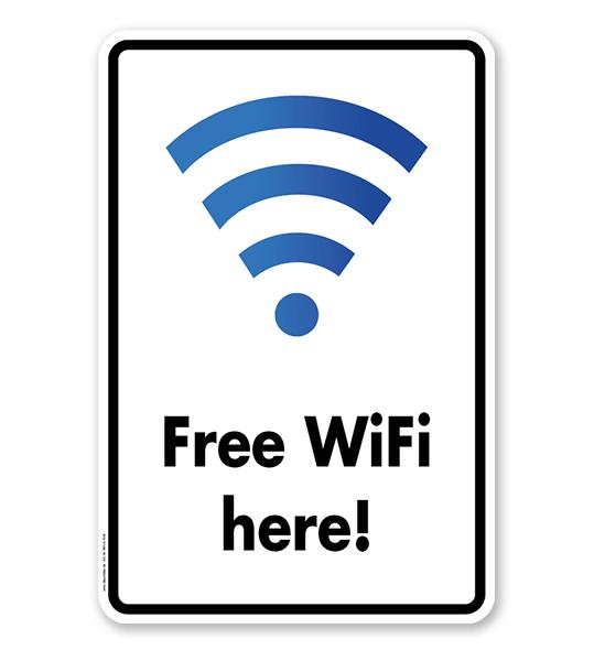 Hinweisschild Free WIFI here - WH