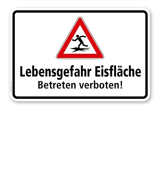 Hinweisschild Lebensgefahr Eisfläche. Betreten verboten - WH