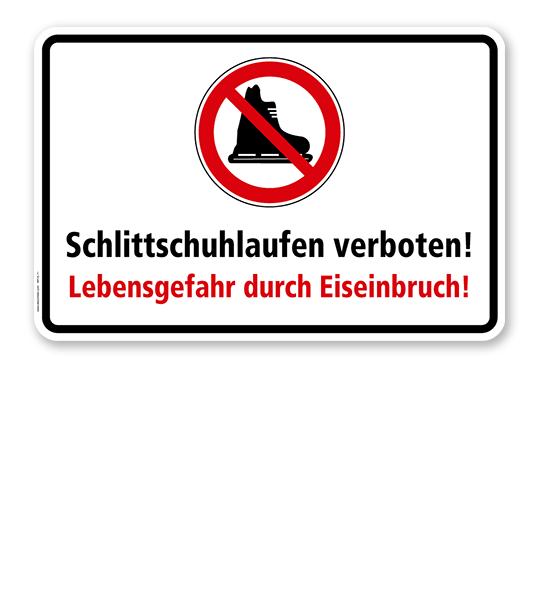Verbotsschild Schlittschuhlaufen verboten! Lebensgefahr durch Eiseinbruch - WH
