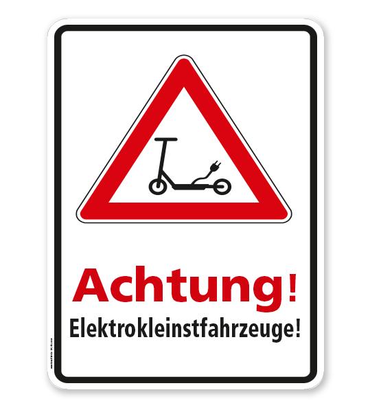Hinweisschild Achtung Elektrokleinstfahrzeuge - WH