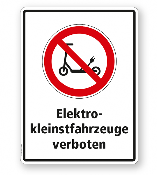 Hinweisschild Elektrokleinstfahrzeuge verboten (E Scooter / Elektroroller) - WH
