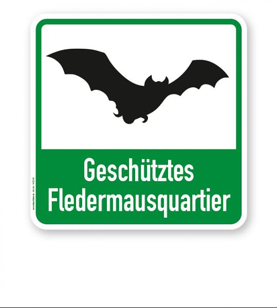 Hinweisschild Geschütztes Fledermausquartier - WH