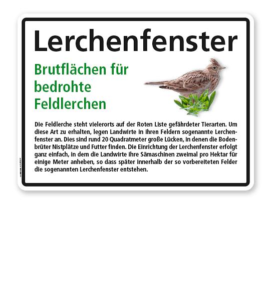 Hinweisschild Lerchenfenster – Brutflächen für bedrohte Feldlerchen - WH