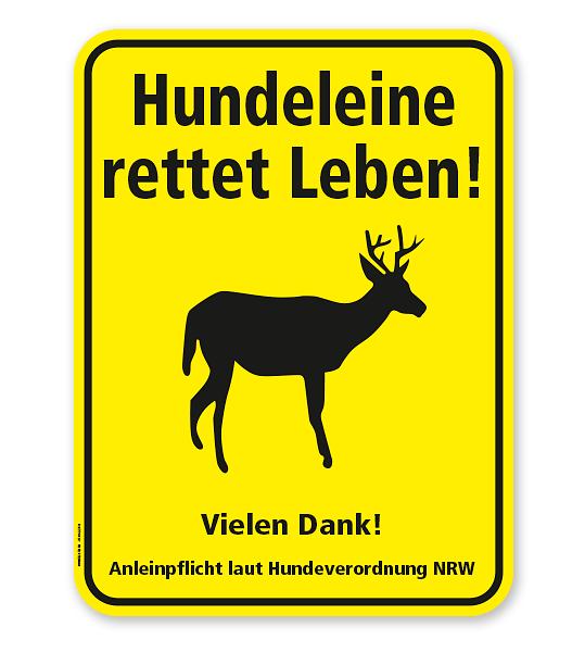 Hinweisschild Hundeleine rettet Leben! Anleinpflicht laut Hundeverordnung NRW - WH