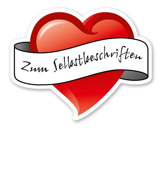 Maibaumschild Herz mit Banderole zum Selbstbeschriften - WH