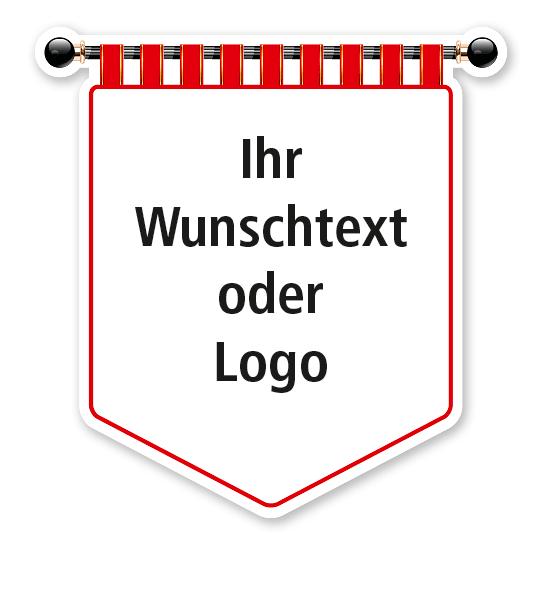 Maibaumschild Banner mit rotem Rand und weißer Fläche - WH