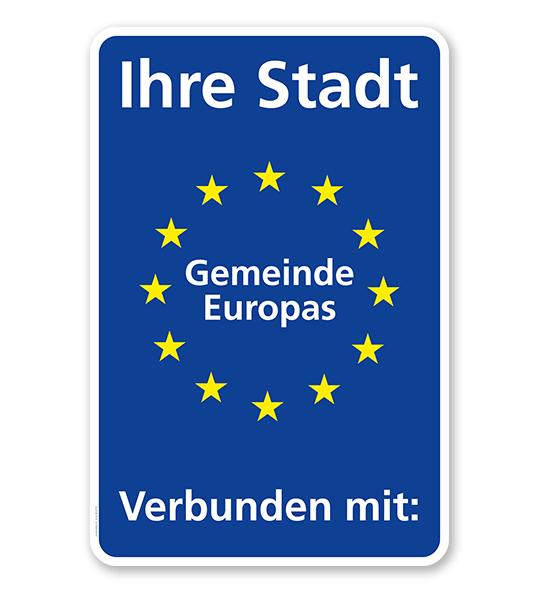 Schild Städtepartnerschaft mit EU-Sternen - WH