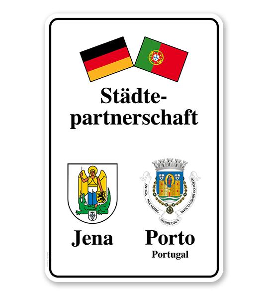 Schild Städtepartnerschaft mit 2 Flaggen u. 2 Wappen - weiß - WH