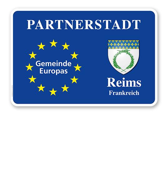 Schild Städtepartnerschaft mit EU-Sternen und 1 Wappen - quer - WH