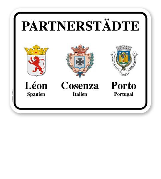 Schild Städtepartnerschaft mit 3 Wappen - weiß - quer - WH