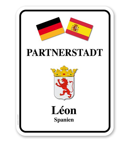 Schild Städtepartnerschaft mit 2 Flaggen u. 1 Wappen - weiß - WH