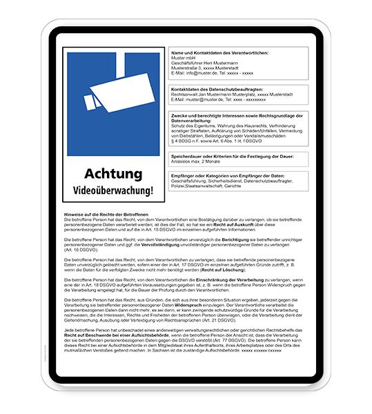 Hinweisschild Achtung,  Videoüberwachung - DSGVO - WH