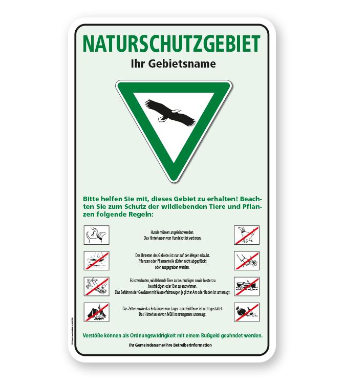 kombinationsschild naturschutzschild naturschutzgebiet mit verkehrszeichen und piktogrammen. Black Bedroom Furniture Sets. Home Design Ideas