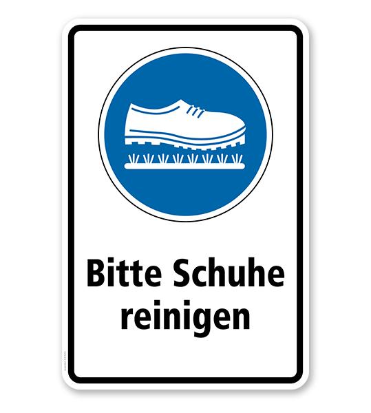 Gebotsschild Bitte Schuhe Reinigen Kombination