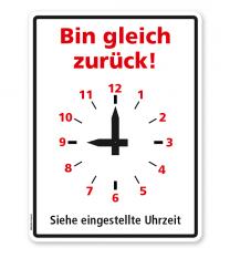 Zeitanzeige - Bin gleich zurück - mit beweglichen Zeigern - DISP