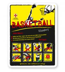 Spielplatzschild Basketball 8P-gelb - DS
