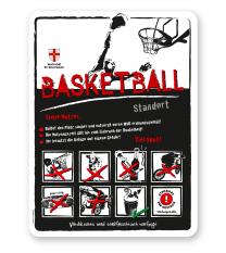 Spielplatzschild Basketball 8P-weiß - DS