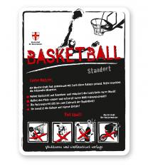 Spielplatzschild Basketball 4P-weiß - DS